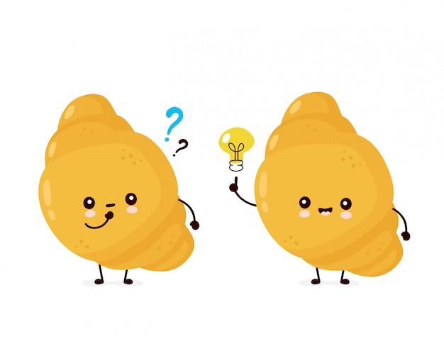 Cornetto felice carino con lampadina e punti interrogativi. personaggio dei cartoni animati piatto illustrazione. isolato su sfondo bianco concetto di croissant gustoso