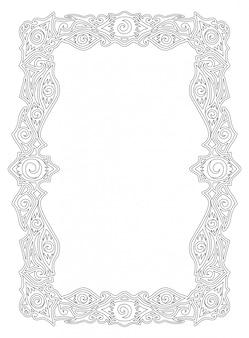 Cornice a bordo lineare con forme di occhi e spirali