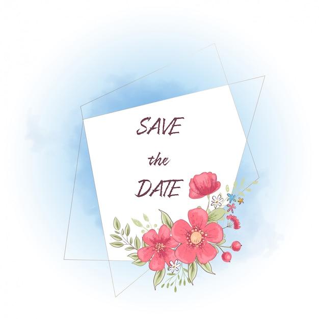 Cornice acquerello con fiori e testo salva la data. illustrazione di disegno a mano