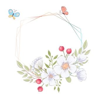 Cornice ad acquerello per la celebrazione del matrimonio con fiori e copyspace