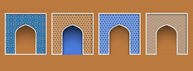 Cornice ad arco in stile arabo, set di elementi architettonici ornati islamici per eid al-adha