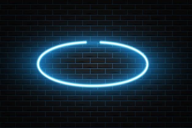 Cornice al neon a forma di ovale.