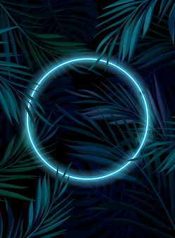 Cornice al neon incandescente tropicale. foglie di palma giungla notte oscura. illustrazione di sfondo estivo.