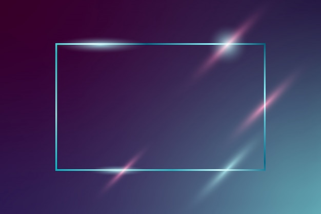 Cornice al neon splendente vettoriale su sfondo blu scuro