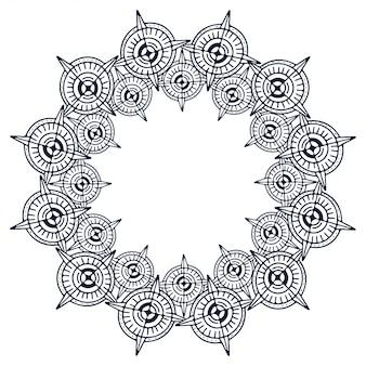 Cornice arrotondata. struttura astratta del cerchio ornamentale.