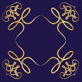 Cornice art deco oro con ornamento su sfondo blu