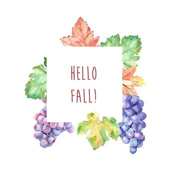 Cornice autunnale acquerello con foglie e uva
