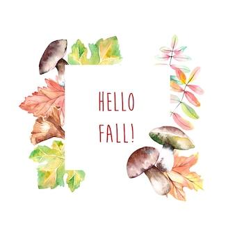 Cornice autunnale acquerello con funghi e foglie