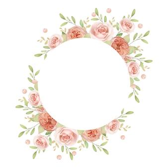 Cornice bellissima corona con rose da giardino floreale