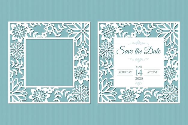 Cornice bianca traforata con taglio laser con foglie e fiori. modello per biglietti di auguri, buste, inviti di nozze, elementi decorativi interni.