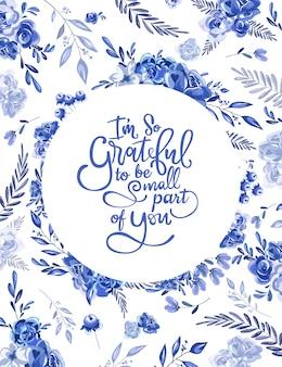 Cornice blu cerchio floreale per biglietti d'invito e grafica.