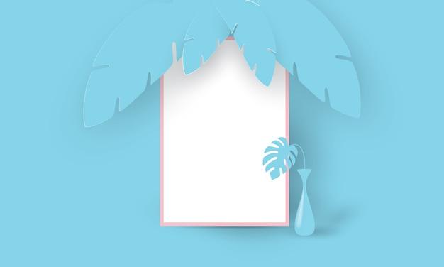Cornice blu con vaso su sfondo blu tropicale