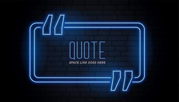 Cornice blu di citazione in neon luminoso stile