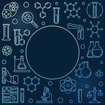 Cornice blu di icone lineari di chimica