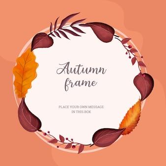 Cornice circolare dell'acquerello di autunno con foglie colorate
