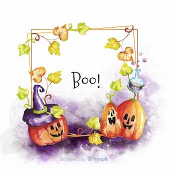 Cornice colorata di halloween ad acquerello