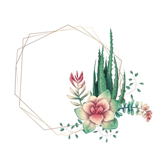 Cornice colorata di nozze con succulente e cactus.