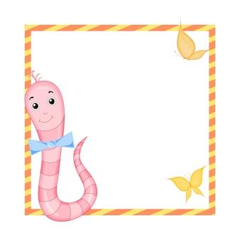 Cornice con animali cartoon, illustrazione di simpatici animali