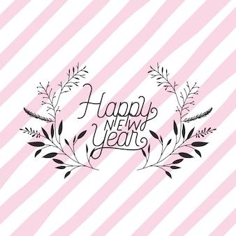 Cornice con felice anno nuovo lettering e corona di corona