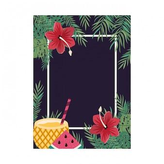 Cornice con fiori e foglie