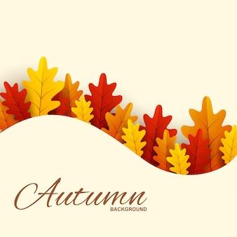 Cornice con foglie di autunno rosse, arancioni e gialle.