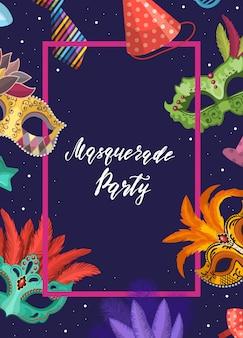 Cornice con maschere e accessori per feste intorno con posto per il testo al centro