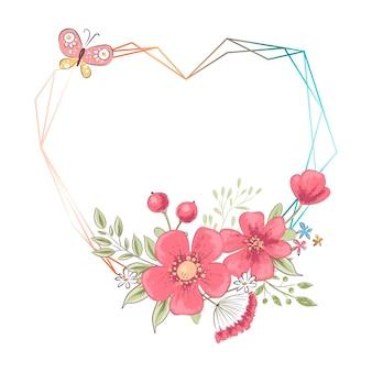 Cornice cuore dell'acquerello con fiori e copyspace. illustrazione di disegno a mano