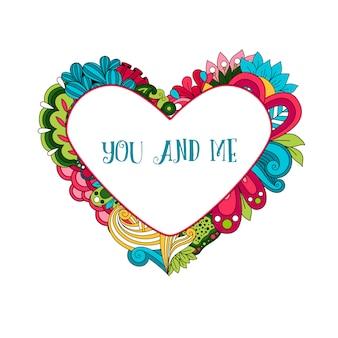 Cornice cuore floreale con testo