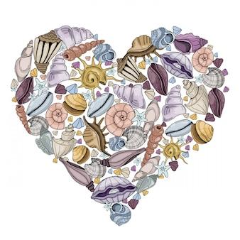 Cornice cuore vettoriale con conchiglie