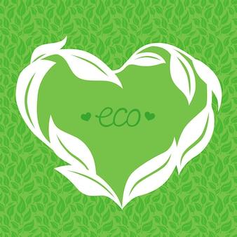 Cornice cuore vettoriale fatta da foglie verdi