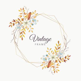 Cornice d'epoca autunno floreale dell'acquerello con bordo oro