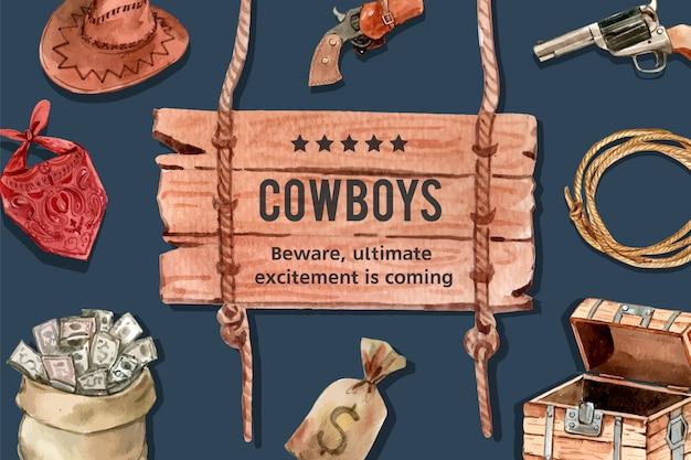 Cornice da cowboy con cappello, pistola, soldi, sciarpa
