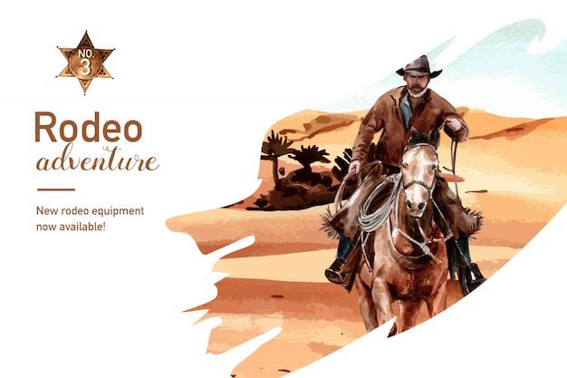 Cornice da cowboy con cavallo, persona, deserto