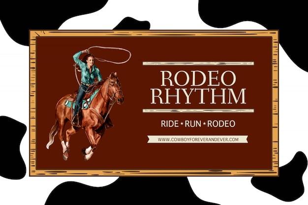 Cornice da cowboy con donna, cavallo