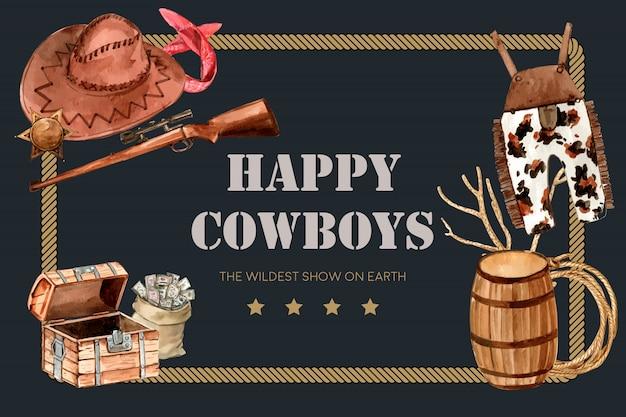 Cornice da cowboy con pistola, cappello, salopette