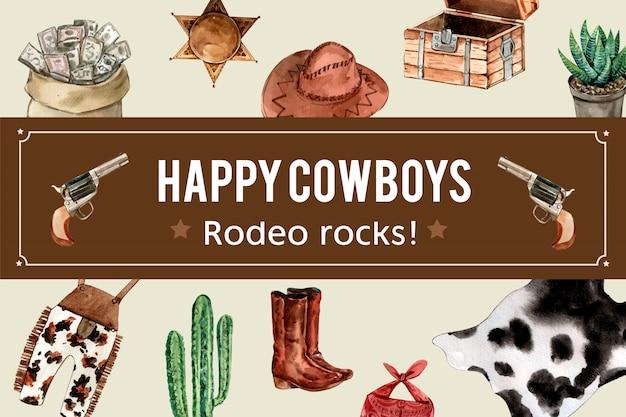 Cornice da cowboy con soldi, cappello, petto, stivali