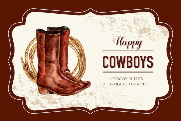 Cornice da cowboy con stivali, corda