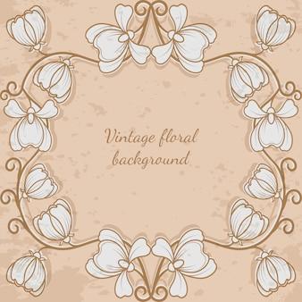 Cornice decorativa con stile vintage di fiori