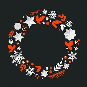 Cornice decorativa rotonda con elementi natalizi.