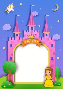 Cornice del castello con principessa carina e unicorno in stile art di carta.