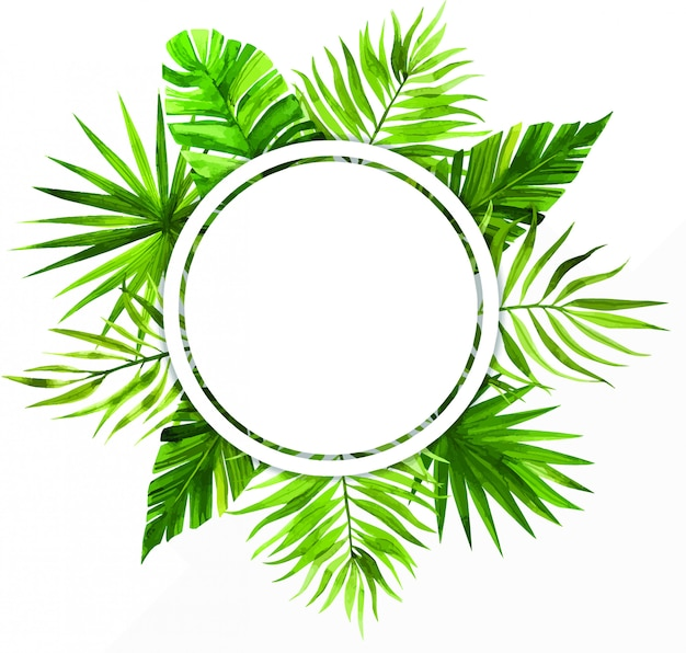 Cornice dell'acquerello con foglie tropicali