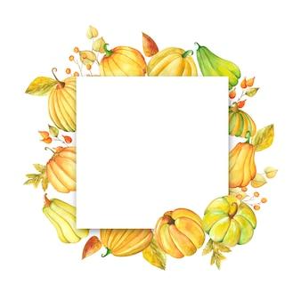 Cornice dell'acquerello con zucche e foglie
