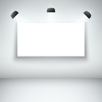 Cornice della galleria vuota illuminata