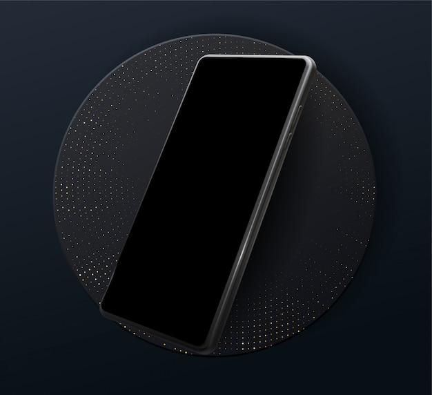 Cornice dello smartphone meno schermo vuoto, posizione ruotata. telefono cellulare isometrico dell'illustrazione 3d. vista prospettica per smartphone. modello per infografica