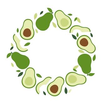Cornice di avocado, dieta keto e vegana, pianta di tendenza, vettore in stile piatto.