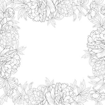 Cornice di bouquet di fiori primaverili di ghirlanda di peonie.