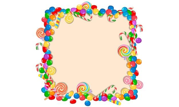 Cornice di caramelle colorate su sfondo bianco