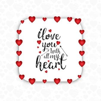 Cornice di carta cuore san valentino sfondo