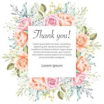 Cornice di carta di ringraziamento matrimonio floreale dell'acquerello