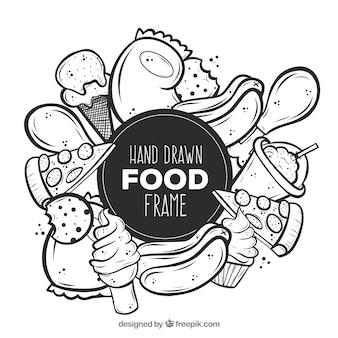 Cornice di cibo delizioso disegnato a mano